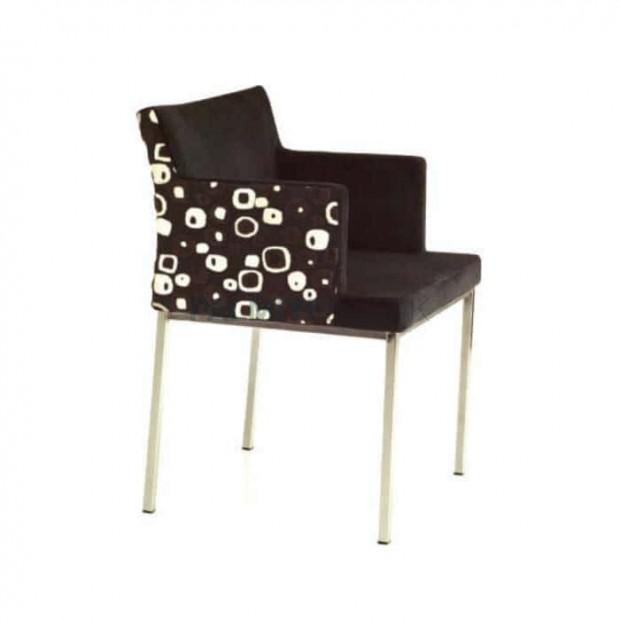 Kahve Desenli Kumaş Döşemeli Profil Ayaklı Sandalye