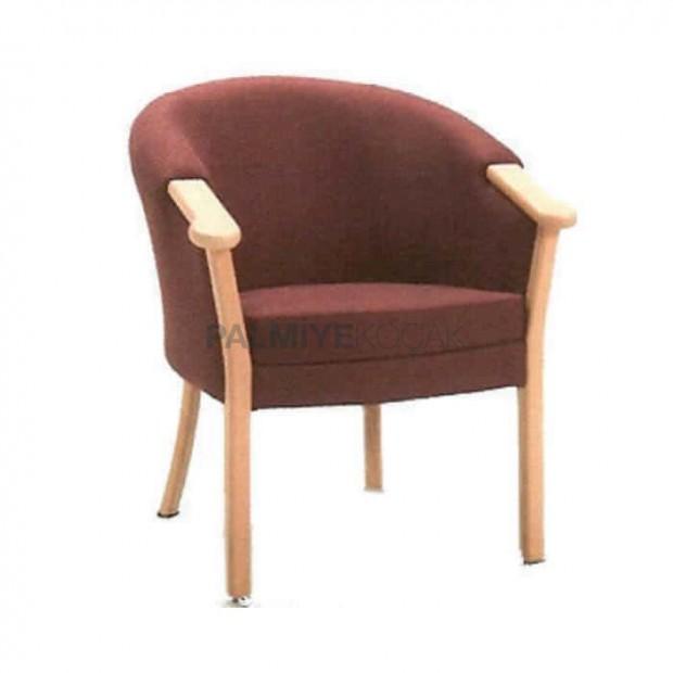 Brown Upholstered Wood Rustic Arm Armchair