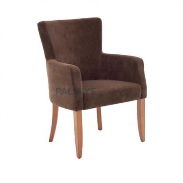 Kahve Kumaş Döşemeli Natural Boyalı Poliüretan Sandalye