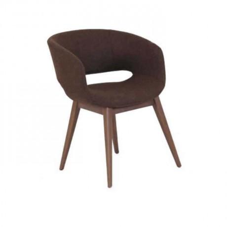 Kahve Kumaş Döşemeli Torna Ayaklı Poliüretan Sandalye - psa654