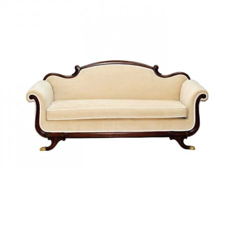 Wooden Framed Cream Fabric Sofa - knp6991
