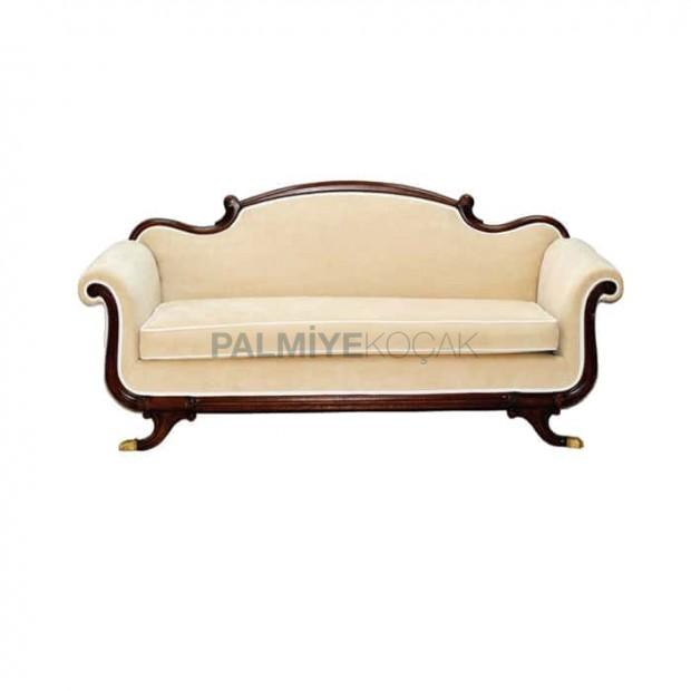 Wooden Framed Cream Fabric Sofa