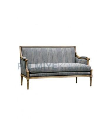Wooden Armrest Fabric Upholstered Restaurant Armchair