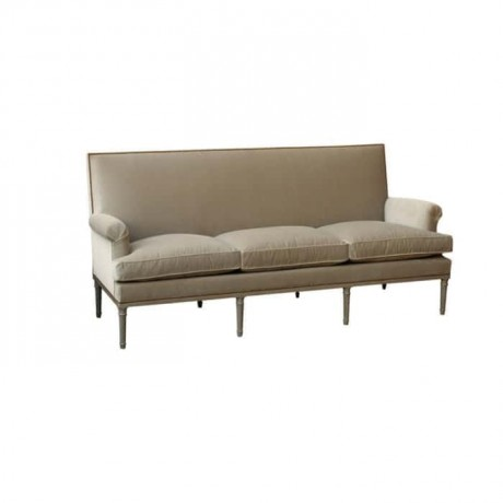 Beige Fabric Upholstered Triple Sofa - knp7023