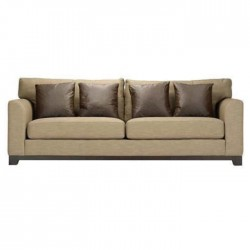 Beige Fabric Upholstered Triple Armchair