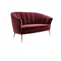 Bordo Fabric Upholstered Hotel Lobby Couch