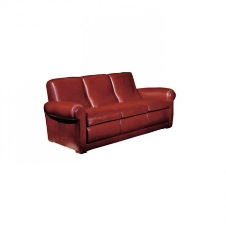 Leather Upholstered Double Hotel Lobby Couch - knp7014