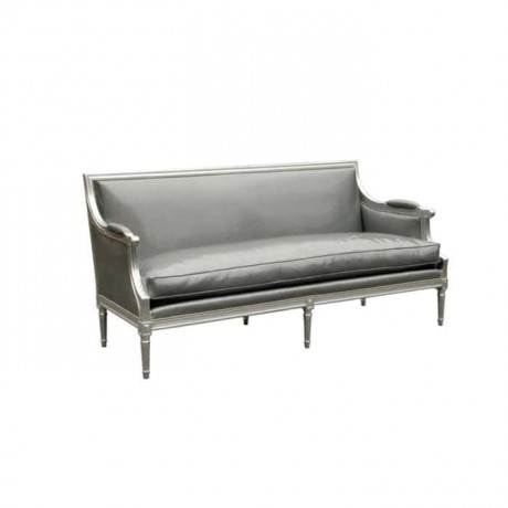 Wooden Armchair with Gray Painted Gray Fabric - knp7034