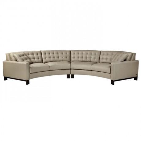 Gray Fabric Upholstered Corner Sofa - knp7004