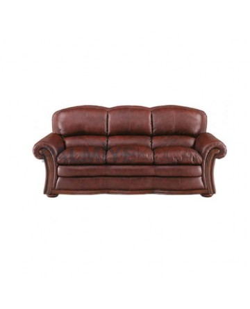 Brown Leather Upholstered Classic Sofa