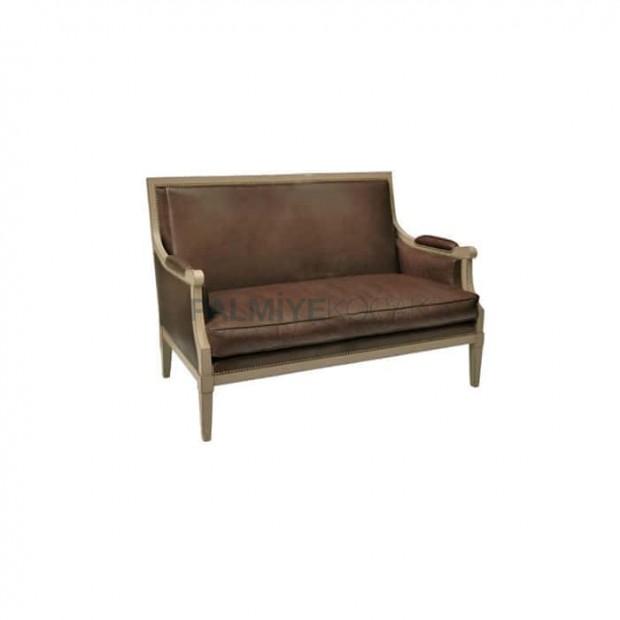 Brown Leather Wooden Leg Double Restaurant Armchair
