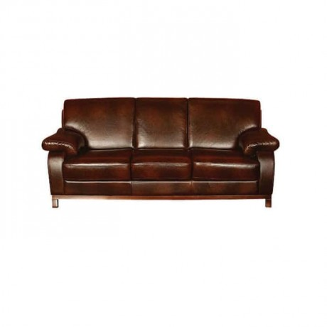 Brown Leather Modern Sofa - knp7010