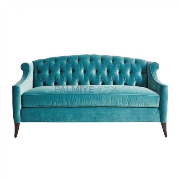 Blue Fabric Upholstered Couch Sofa