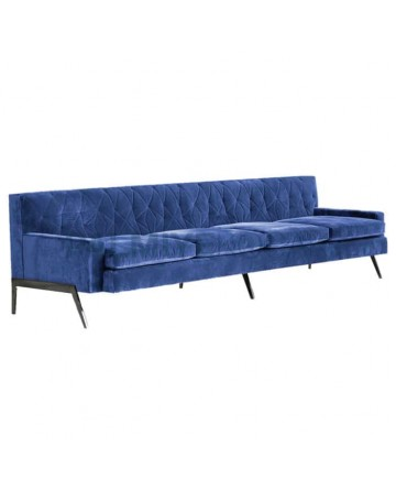 Blue Fabricated Hotel Lobby Couch