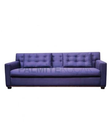 Purple Fabric Covered Triple Armchair
