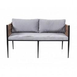 Black Skeleton Gray Padded Sofa with Braided Armrest 1st Quality