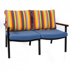 Blue Cushioned Double Sofa With Colorful Pillows
