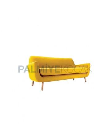 Yellow Fabric Modern Triple Armchair