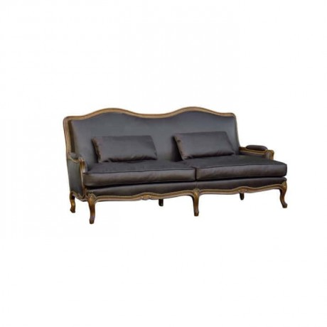 Black Leather Wooden Hotel Lobby Armchair - knp7038