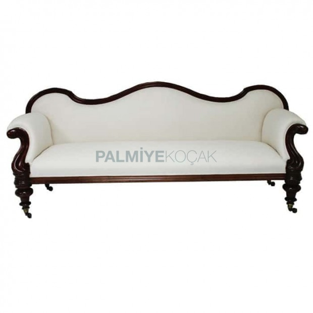 Turned Leg White Fabric Upholstered Couch