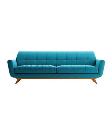 Turquoise Fabric Upholstered Quilted Sofa