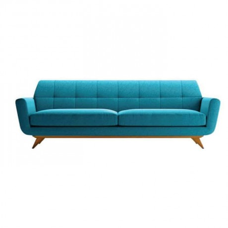 Turquoise Fabric Upholstered Quilted Sofa - knp6999