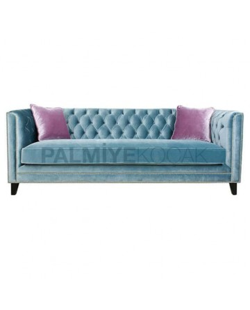 Turquoise Fabric Quilted Sofa