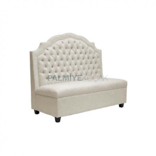 Quilted White Leather Upholstered Cafe Booths