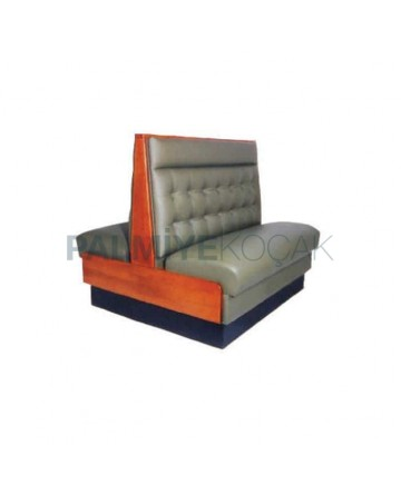Quilted Gray Leather Double Sided Cafe Booths