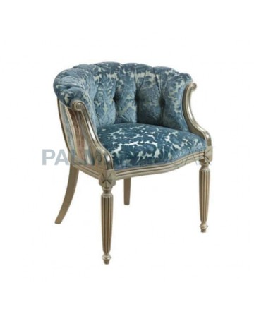 Quilted Velvet Fabric Upholstered Armchair
