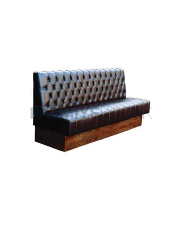 Quilted Brown Leather Upholstered Restaurant