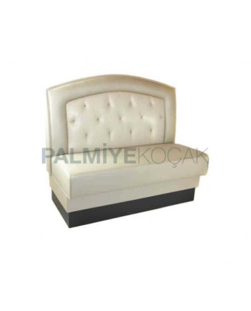 Quilted Cream Leather Upholstered Cafe Booths