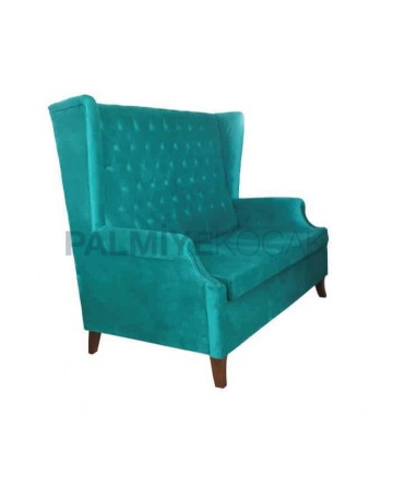 Quilted Turquoise Fabric Upholstered Cedar
