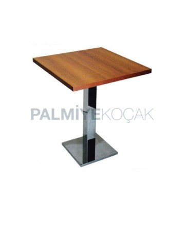Light Walnut Table Top Stainless Steel Legs Cafe Table