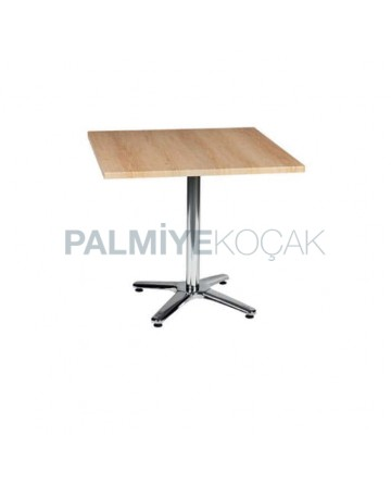Wooden Painted Table Top Stainless Steel Star Leg Cafe Table