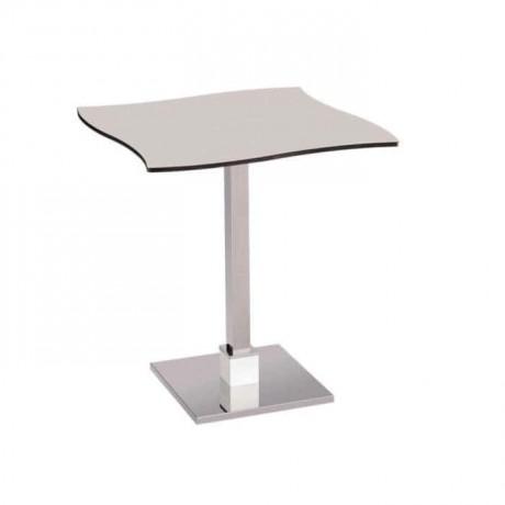 Compact Laminat Tablalı Paslanmaz Metal Ayaklı Kafe Masası - mtm4039