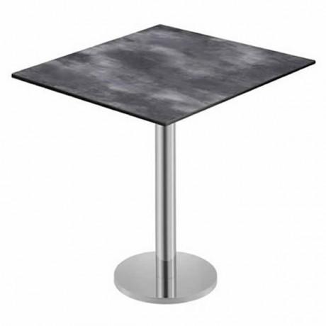 Dalgalı Antrasit Desenli Metal Ayaklı Kare Compact Laminat Cafe Otel Restoran Masası - pmp103