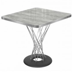 Gray Marble Look Decorative Uv Lacquered Mdflam Top and Metal Leg Square Cafe Table Manufacturing