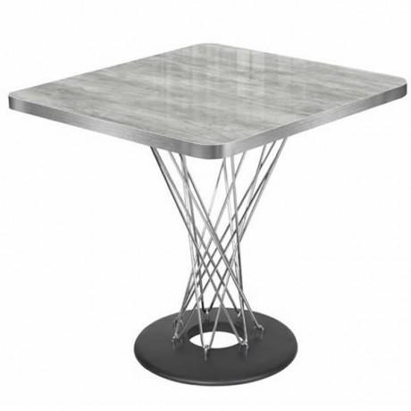 Gri Mermer Görünümlü Dekoratif Uv Laklı Mdflam Tablalı Metal Ayaklı Kare Cafe Masası İmalatı - pmp108