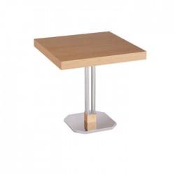 Beech Upholstered Polished Metal Leg Cafe Table
