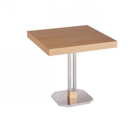 Kayın Kaplama Cilalı Metal Ayaklı Kafe Masası - mtm4018