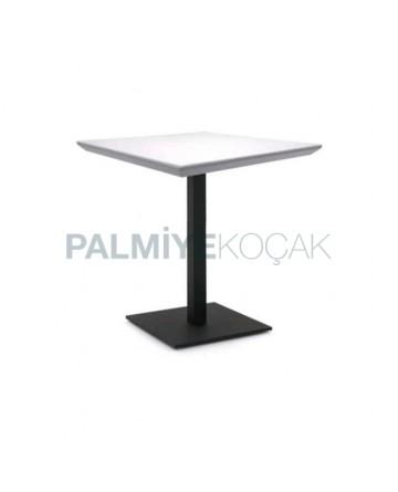 Lake White Painted Black Metal Leg Table