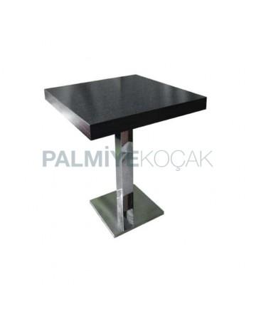 Lake Black Painted Stainless Steel Leg Table
