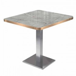 Marble Look Decorative Uv Lacquered Mdflam Gold Satin Edge Band Square Cafe Table 1. Quality