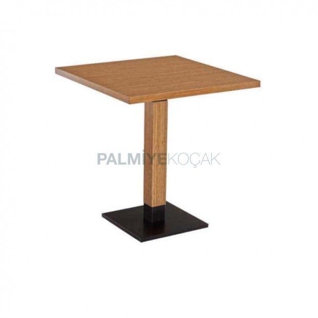 Oak Mdf Lam Metal Leg Cafe Table