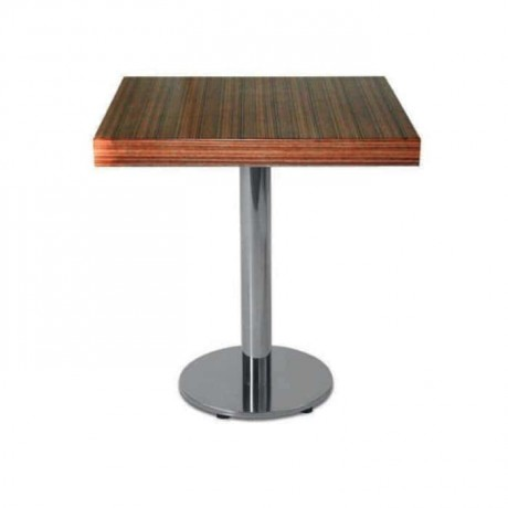 Stainless Steel Legged Wooden Cafe Table - mtm4002