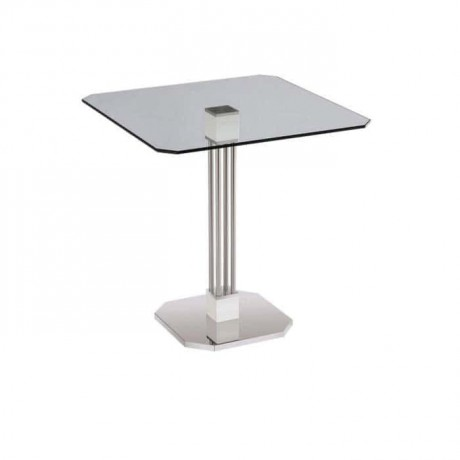 Stainless Steel Leg Glass Hotel Table - mtm4038