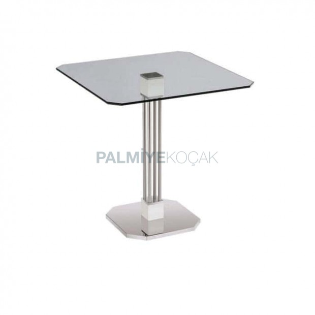 Stainless Steel Leg Glass Hotel Table