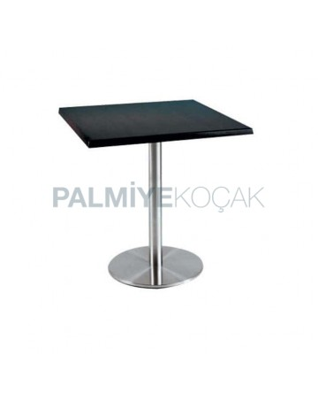 Black Laminat Table Topd Stainless Steel Leg Cafe Table