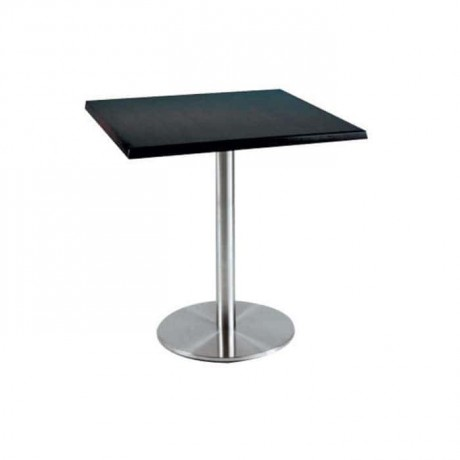 Siyah Laminat Tablalı Paslanmaz Ayaklı Cafe Masası - mtm4030